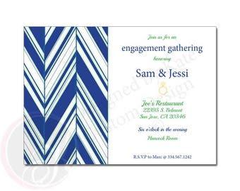 Diagonal Pattern - Engagement Party Invitation