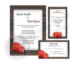 Country Chic Wedding Invitation Set (Digital File)