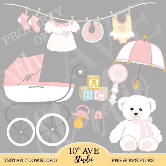 b868692a9 Boy   Girl Baby Shower Clipart Graphic 24 PNG and EPS files
