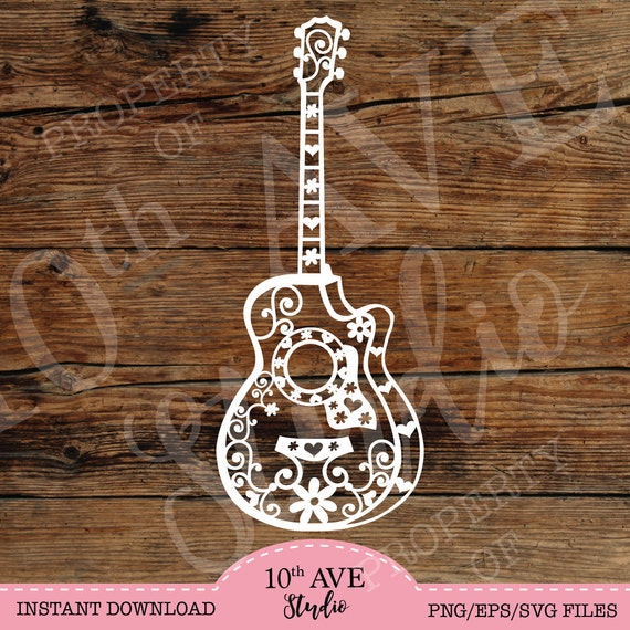 Hearts And Flowers Acoustic Guitar Svg Clipart And Cut
