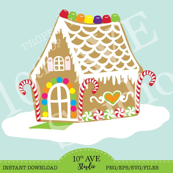 Christmas Gingerbread House Clipart Cut Files Svg Eps Png Etsy