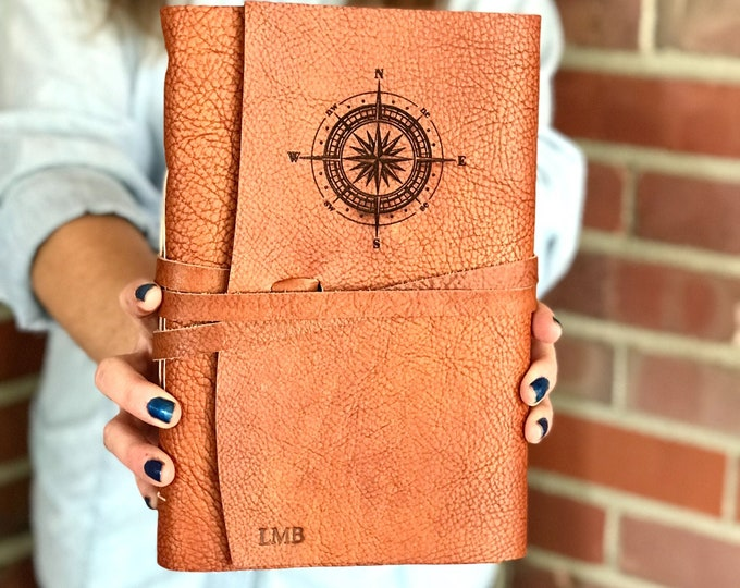 Featured listing image: Personalized Bucket List Journal in Rust Leather Travel Journal Personalized Leather Journal