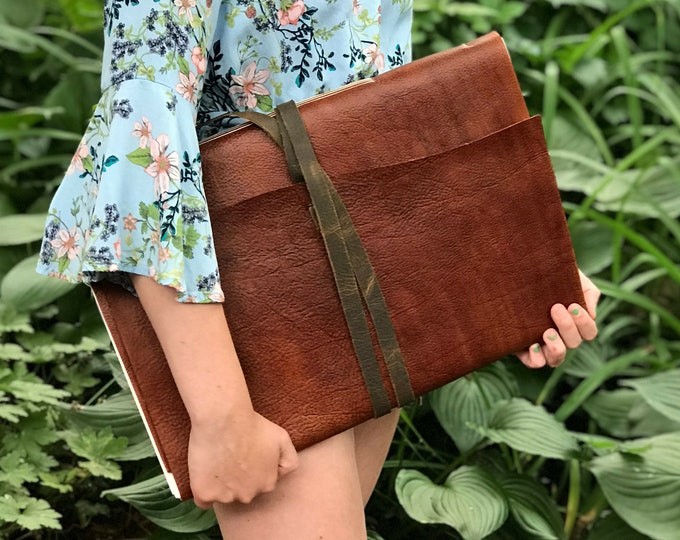 Featured listing image: Personalized Giant Leather Journal 12 x 18 inches in a Brown Color and Bound
