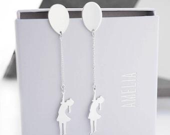 Balloon Girl Silver Earrings