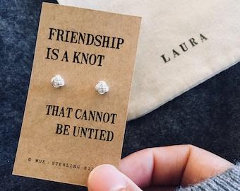 Friendship Knot Earrings, Sterling Silver, Personalised