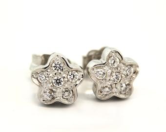 26b7f60c20c07b Floral Diamond Stud Earrings 14K White Gold 0.25 CTW Round Diamonds Girls/ Ladies