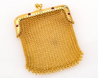 Vintage 18K Yellow Gold 0.40 CTW One of a Kind Round Diamond & Ruby Ladies Mesh Purse