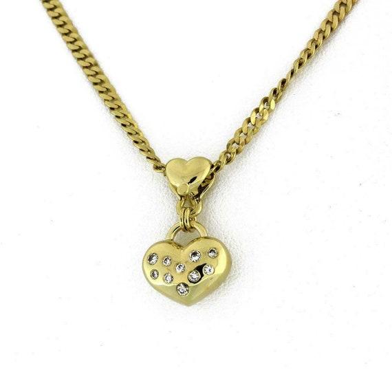 Estate Diamond Puffed Heart Pendant 14K Yellow Gol