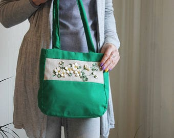 0fd6bef2a8 Green fabric bag Gift for women White yellow flowers Embroidered ribbon  flowers Handmade handles bag Apple flowers Embroidery on handbag
