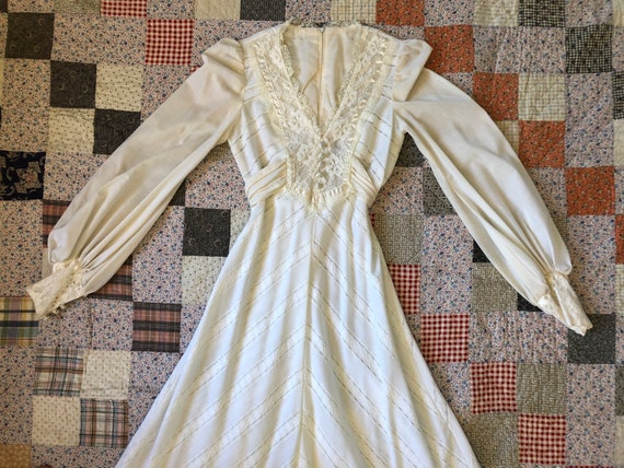 Vintage 1970s Jody T of California White Lace Maxi