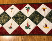 Quilted Table Runner Topper. Home made. Cotton. Christmas Design. Embroidered Xmas Candles.