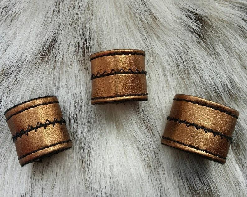 RECKONER shiny copper metallic vegan leather statement ring
