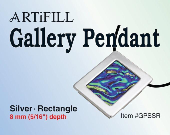 Gallery Pendant: Silver - Rectangle (8mm deep) #GPSSR