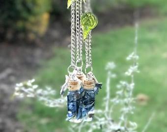 Bluebonnet necklace Woodland necklace Terrarium necklace Moss necklace Forest treasures jewelry