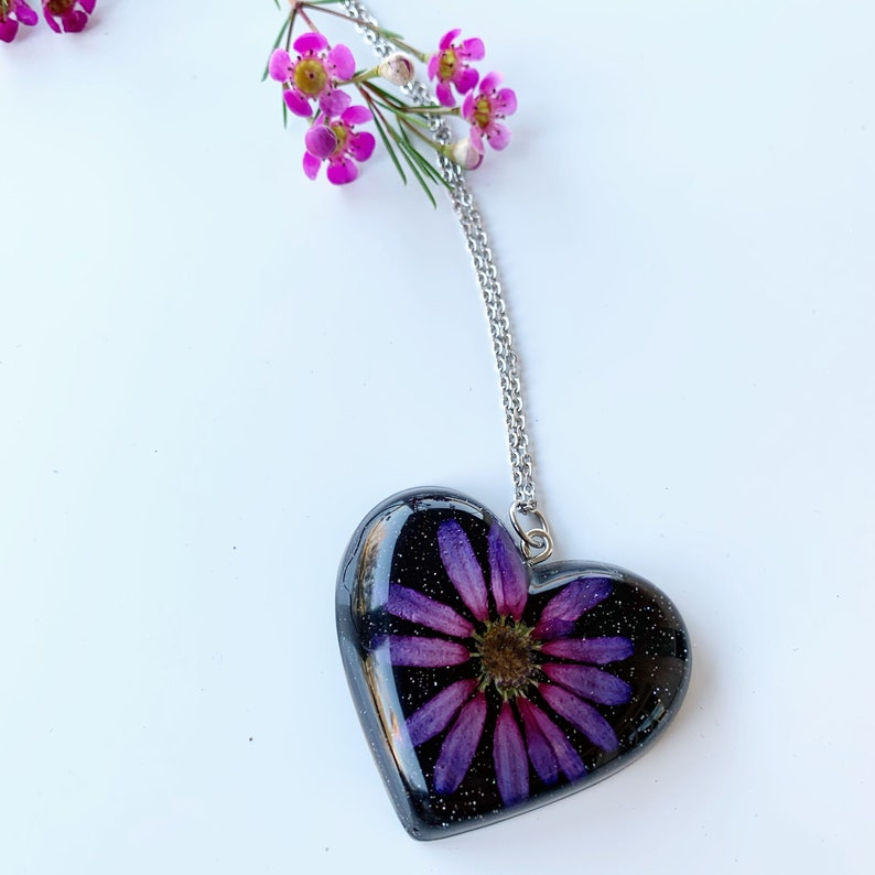 Real flower necklace Botanical jewelry Aster necklace