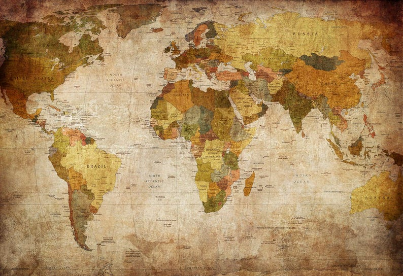 24x36 World Map Canvas Old Fashioned Etsy