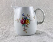 Vintage Miniature Porcelain Pitcher, Made in GDR, Colditz AF97, Floral Pitcher, White with Flowers, Dainty Pitcher
