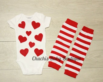 Valentine's Day Baby Outfit Heart Baby Onesie  with Leg warmers Baby Outfit Baby Heart Clothes Baby Heart