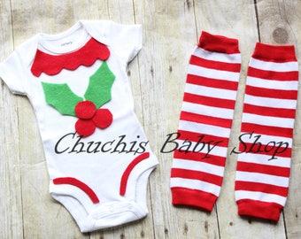 Baby Holy Leaf outfit Christmas Holy leaf onesie with Leg warmers Baby Christmas outfit baby cute Holy Leaf costume