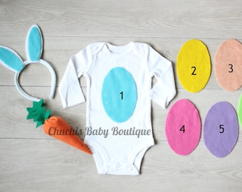 First Easter Baby Onesie and  Bunny Ears headband Baby Easter outfit