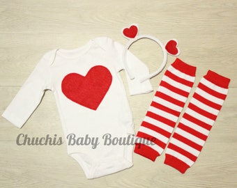 Valentine Baby onesie with Leg warmers and Headband heart baby outfit