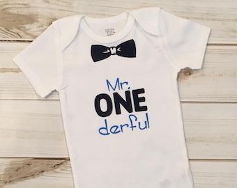 Mr. ONEderful Shirt, First Birthday Shirt, Birthday Bodysuit, Birthday Onesie