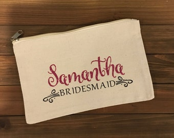 Personalized Bridesmaids Cosmetic Bags, Bridal Party Gifts, Makeup bags,