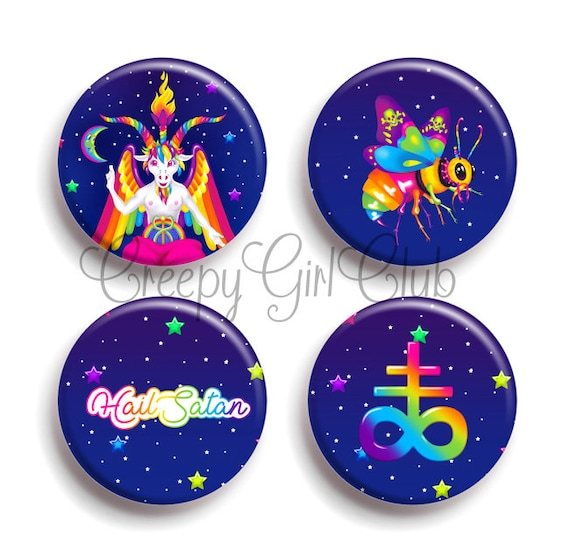 fb70653c2da Satanic 4 Pin Button Set Rainbow 90s Baphomet Beelzebub   Etsy