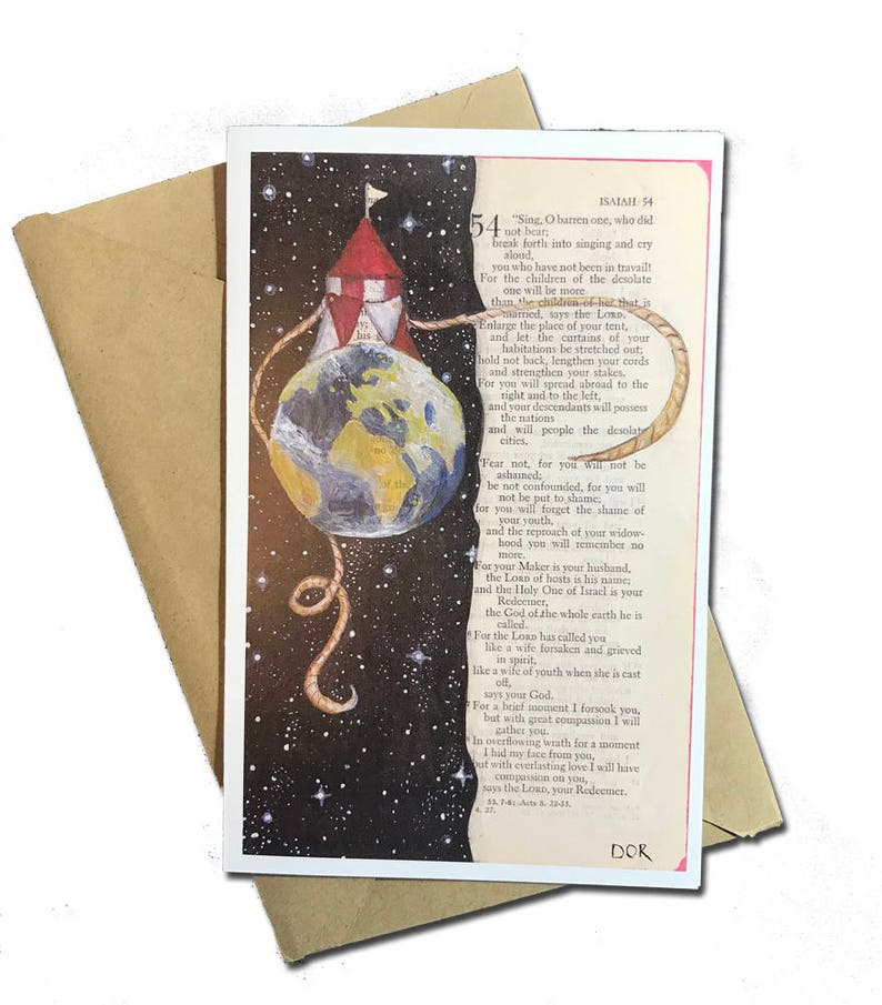 Bible Print  Earth Painting  Bible Page  Free Shipping A9 card Scripture Greeting Card  Isaiah 54 1-8  5.5x8.5