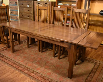 Arts And Crafts Oak Dining Table With Pull Out Leaves