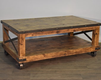 Rustic Distressed Industrial Solid Wood Coffee Table On Caster Wheels