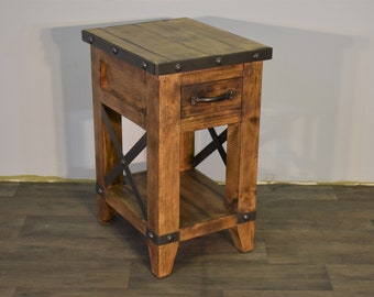 Rustic Industrial Solid Wood 1 Drawer Side Table / Narrow Nightstand