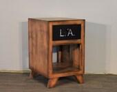 Rustic Modern Solid Wood 1-Drawer Graffiti Side Table Narrow Nightstand