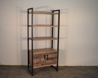 Rustic Industrial Distressed Wood Bookcase With Open Shelves Cabinet