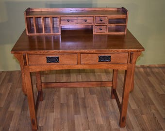 Mission Style Solid Quarter Sawn White Oak Desk With Storage