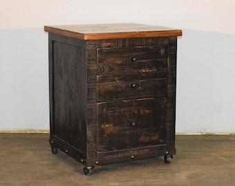 Rustic Black 3 Drawer File Cabinet