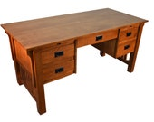 Mission Style Solid Quarter Sawn White Oak Desk Library Table with 5-Drawers 2-Pull out Writing trays