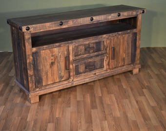 Dark Wood Tv Credenza : Buy a custom barn wood tv stand media console lake of the woods