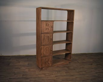 Rustic Style Reclaimed Wood Bookcase With 4 Doors