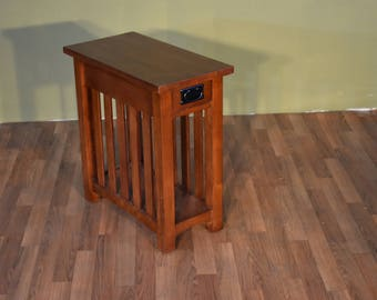Mission Style Solid Oak Narrow Side Table With Slats / Nightstand With One  Drawer