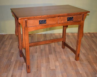 Incroyable Mission Style Solid Quarter Sawn White Oak Desk / Library Table With Two  Drawers   Available To Ship 10/10/18