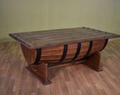 Rustic Style Solid Wood Half Barrel Shaped Coffee Table / Cocktail table