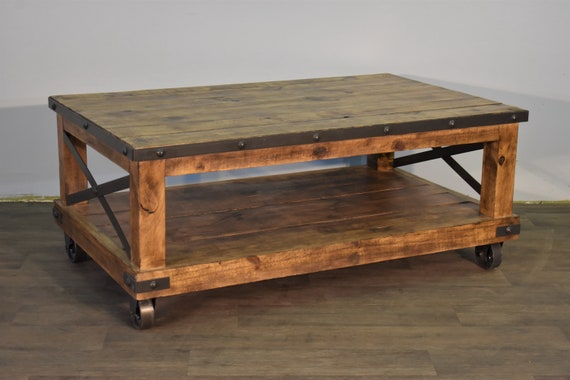 Rustic Distressed Industrial Solid Wood Coffee Table On Caster Etsy