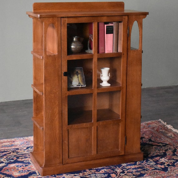 Arts And Crafts Mission Solid Oak Bookcase With Side Shelves Golden Brown