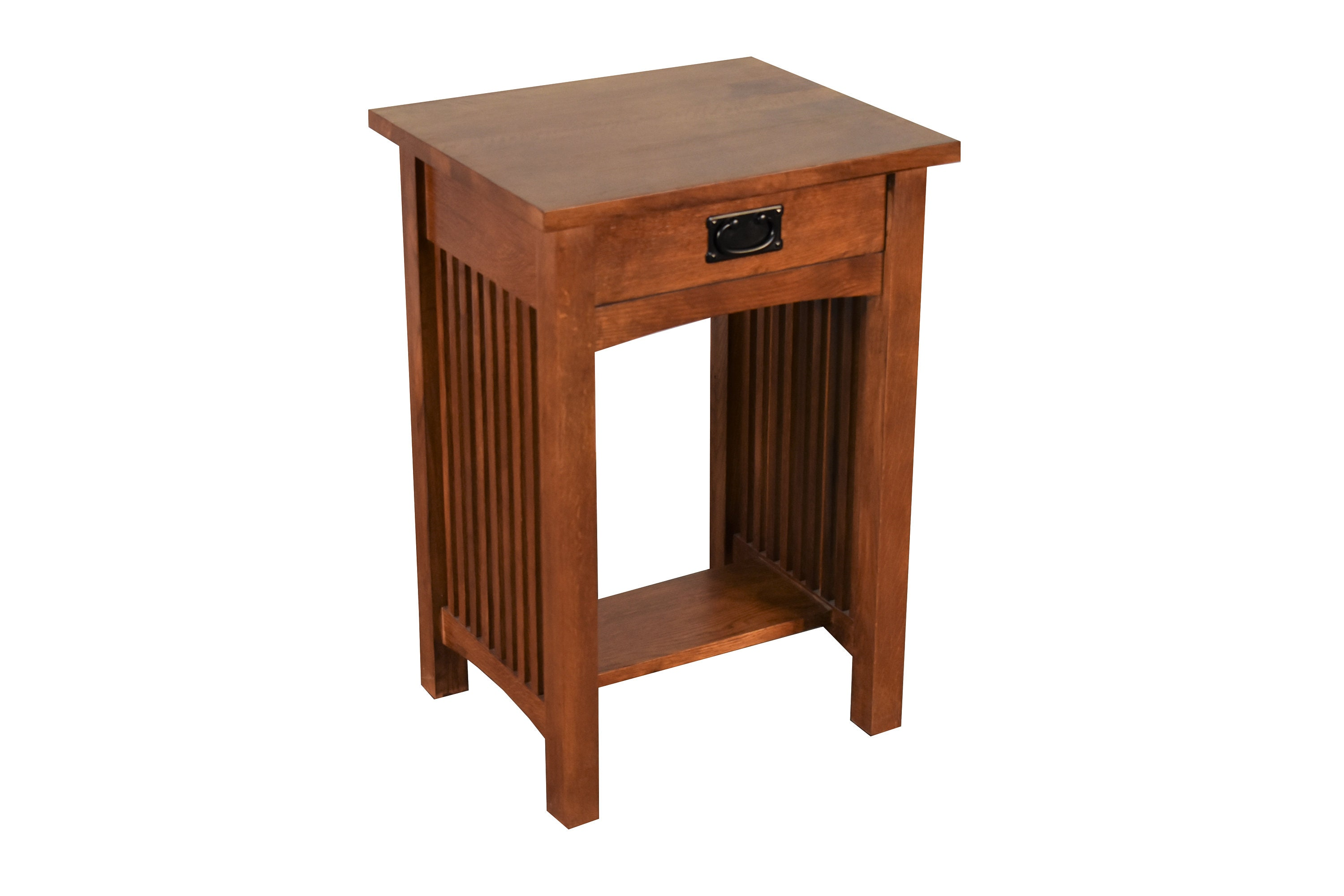 Mission Style Solid Oak 1 Drawer Nightstand Bedside Table With Spindles