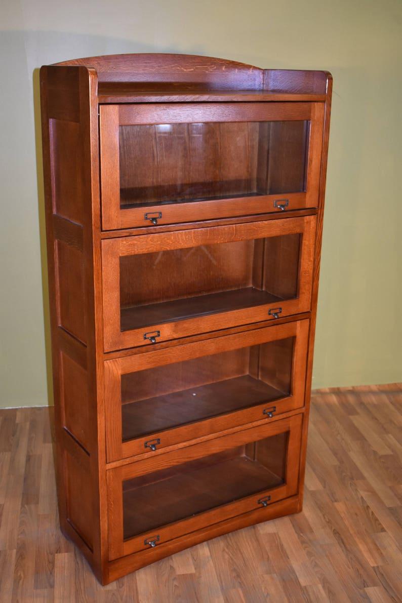 Mission Style Quarter Sawn White Oak 4 Stack Barrister Bookcase