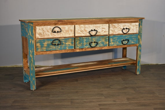 Rustic Farmhouse Beach Style Solid Wood 6 Drawer Console / Sideboard /  Media Cabinet