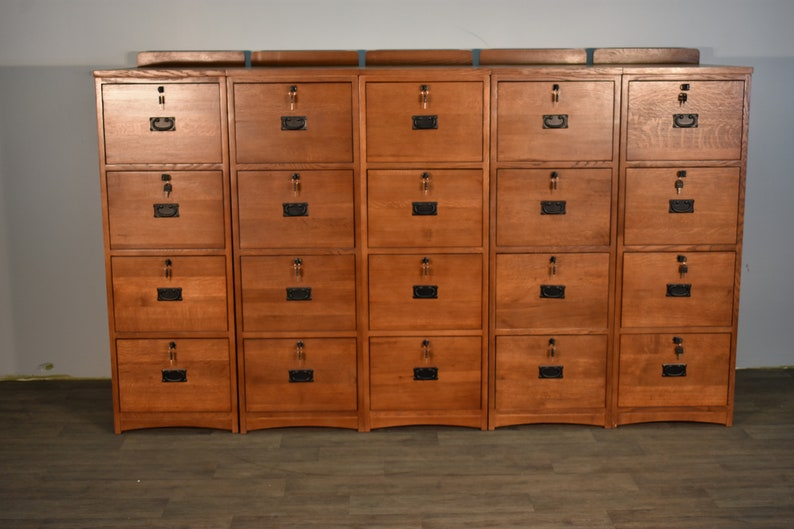 Set Of 5 Mission Style Solid Oak 4 Drawer File Cabinet With Locking Drawers