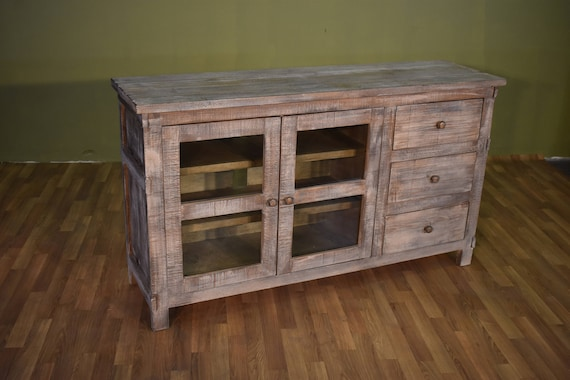 Rustic Farmhouse Style Solid Wood 60 Inch Tv Stand Sideboard Etsy