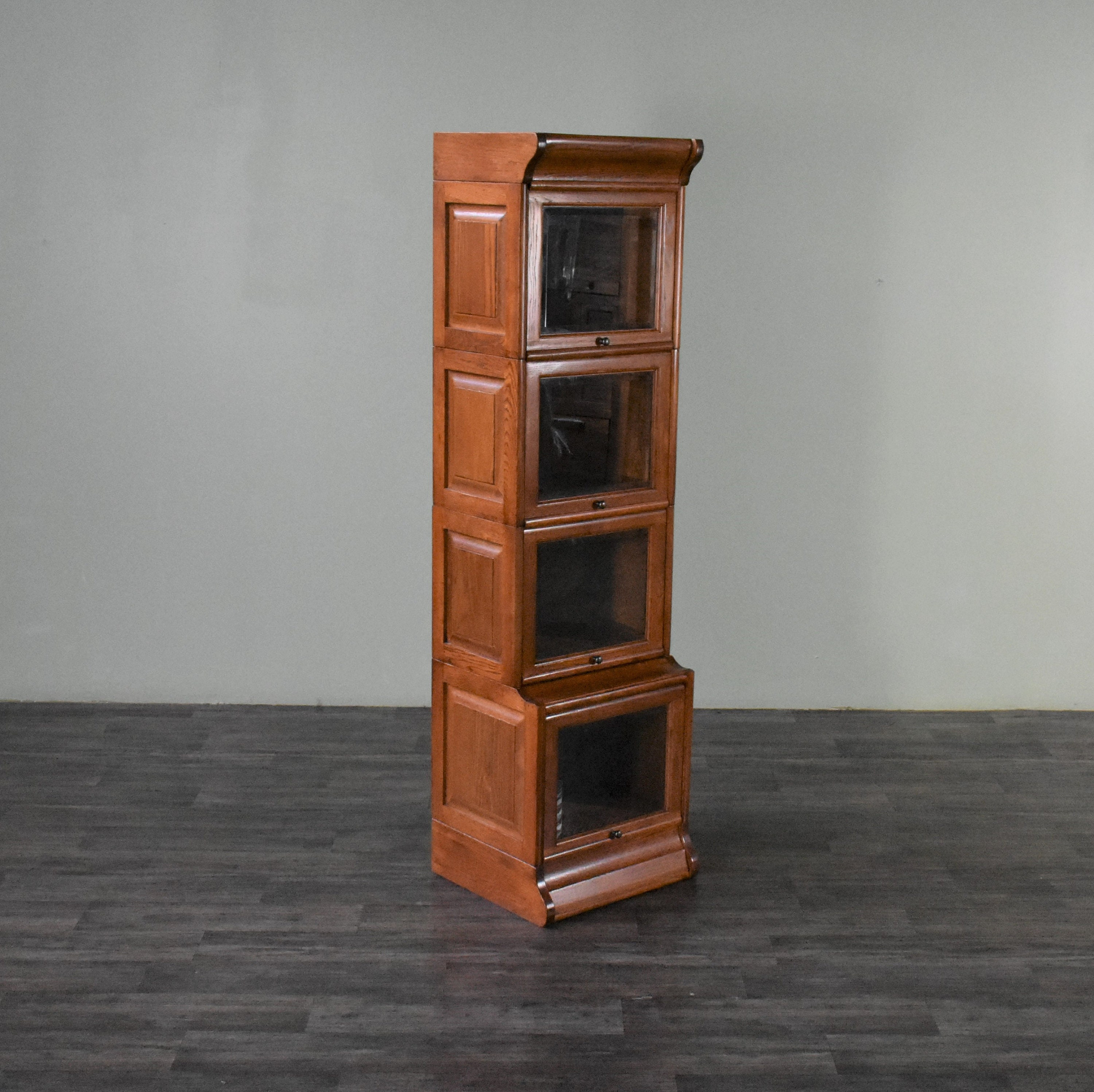 Mission Solid Oak 4 Stack Narrow Barrister Bookcase With Leaded Glass Mc Stain
